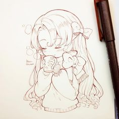 Un sketch de tamy. twt)/ kawaii (-ェ-) + chibi ʚ(* *❁)ɞ эскиз Anime Drawings Sketches, Anime Sketch, Kawaii Drawings, Manga Drawing, Manga Art, Cute Drawings, Chibi Drawing, Chibi Sketch, Art Kawaii