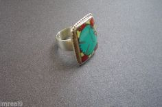 Vintage-Abstract-Pop-Art-Turquoise-THUNDERBIRD-Spiny-Oyster-Sterling-Silver-Ring