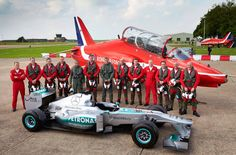 Lewis Hamilton with The Red Arrows prior to the British Grand Prix 2014