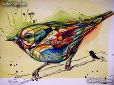 птица, рисунок, краски, раскасска, графика, тушь, воробей