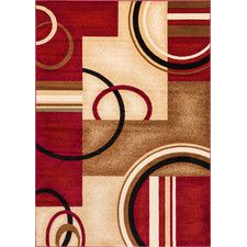 Barclay Red Arcs & Shapes Area Rug