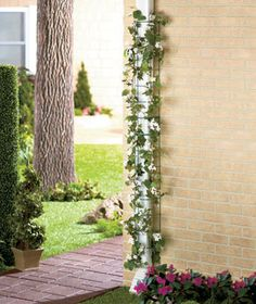 Set of 2 Downspout Garden Trellises for $6.95. What a cool way to make those downspouts pretty, wisteria would be beautiful on this.