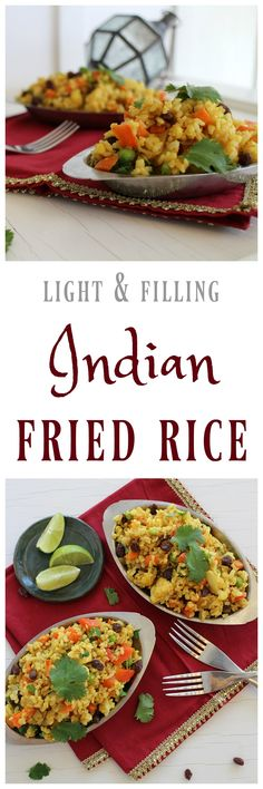 Light & filling Indian fried rice: A flavorful vegan main or side dish. Serve on its own or with your favorite curry. Rice Recipes, Indian Food Recipes, Vegetarian Recipes, Dinner Recipes, Healthy Recipes, Ethnic Recipes, Vegan Vegetarian, Spam Recipes, Indian Foods