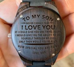 To My Son From Mom – To See you Through My Eyes Engraved Wooden Watch, Wood Gifts, Custom Birthday Graduation Gift for my Son from Mother – Boy Friend Gift İdeas. My Children Quotes, Quotes To My Son, Son Sayings, Daughter Quotes, Wooden Watches For Men, Watch Engraving, Wood Gifts, Diy Gifts, Cool Watches