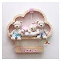 Crochet Teddy, Crochet Toys, Room Wall Decor, Baby Crafts, Nursery Room, Christmas Ornaments, Holiday Decor, Rose, Teddy Bears