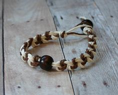 Brown White Chain Hemp Bracelet