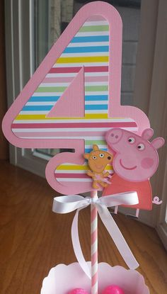 Peppa Pig Centerpiece with Age Choice of Colors and Age by mlf465