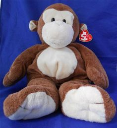 Ty Pluffies Dangles 2004 Brown Monkey Stuffed Animal Plush Pluffy Lovey Soft Toy