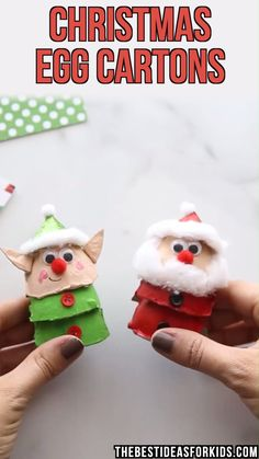 CHRISTMAS EGG CARTON CRAFTS - these are easy Christmas crafts for kids! Use some egg cartons and make an elf, Santa or Christmas tree! crafts for kids for teens to make ideas crafts crafts Christmas Arts And Crafts, Simple Christmas, Kids Christmas, Holiday Crafts, Christmas Ornaments, Dough Ornaments, Summer Crafts, Christmas Decor, Christmas Cards