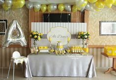 Yellow gray birthday concept organization – Only Woman Cap Decorations, School Decorations, Funeral Catering, Slushies, Elephant Shower, Party Organization, Graduation Cap Decoration, Baby Birthday, Birthday Ideas