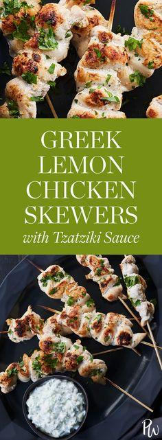 Greek Lemon Chicken Skewers with Tzatziki Sauce. #lemonchicken #greekrecipes #skewers #chickenrecipes #dinnerrecipes