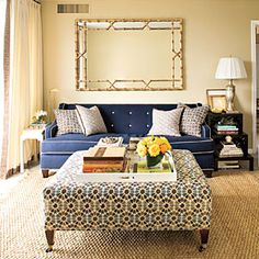 Home Staging Take a room up a notch and surprise the eye with one large scale element! Home Staging, Sofa End Tables, A Table, Table Lamp, Coffee Tables, Side Tables, Southern Living, Southern Charm, Southern Style