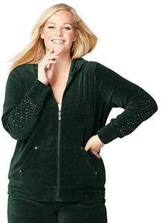 Avenue Women's Scattered Stones Velour Active Jacket green