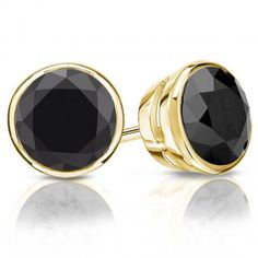Certified 14k Yellow Gold Bezel Round Black Diamond Stud Earrings 4.00 ct. tw.
