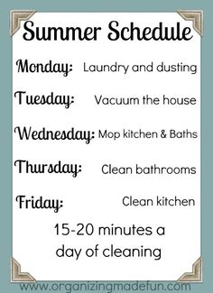 Weird...this is basically my cleaning schedule. I'm not cleaning all day every day plus I have more time with the kids! -jf