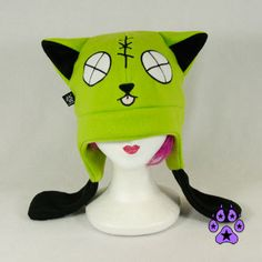 LIME Zombie kitty cat hat fleece cosplay anime goth by pawstar, $28.00