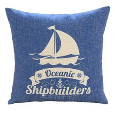 """$16.99 for case only, +$8 shipping. Various nautical styles available. MagicPieces Cotton and Flax Nacy Style Land and Sea Decorative Pillow Cover Case A 18"""" x 18"""" Square Shape-ocean-beach-sea-print-blue-anchor-helm-Voyage MagicPiecesPillow http://www.amazon.com/dp/B00F1UF48C/ref=cm_sw_r_pi_dp_Nxy1ub1T4E36F"""