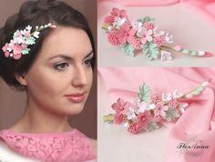 """""""La frescura suave"""" horquilla con flores hechas a mano: de venta, el precio en Kiev. broches y pinzas para el cabello de """"FlorAnna- tienda artesanal de joyas de autor de arcilla polimérica"""" - 223600096"""