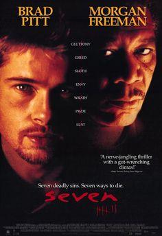 seven movie Seven (Brad Pitt, Morgan Freeman Horror Movie Posters, Disney Movie Posters, Iconic Movie Posters, Iconic Movies, Horror Movies, Film Seven, Seven 1995, Best Movies List, Good Movies On Netflix