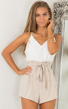 Tied Down playsuit in white and beige   SHOWPO Fashion Online Shopping