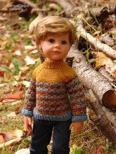 OOAK Hand-Knitted Fall Sweater & Cap for Gotz Hannah dolls by Debonair…