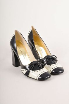 $512 Beautiful MARC by MARC JACOBS Spectator Patent Leather Pump 38.5 Navy/Cream #MarcbyMarcJacobs #Pumps