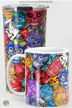 * Dia De Los Muertos * Calaveras Pequeñas - Little Sugar Skulls Coffee Mugs by #Gravityx9 at Society6 * Ceramic and Travel Mugs * This Day of the Dead design is available on shirts, stickers, home decor and more.* Custom coffee mugs * custom drink ware * travel mug for friends * gift for adults * dia de los muertos coffee mug * dia de los muertos gift ideas * calavera skull coffee mug * calaveras coffee mug * latinx * #FallSeasonsBest #SugarSkulls #diadelosmuertos #calaveras #CoffeeMugs…