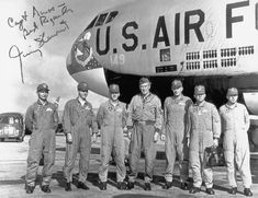 Brigadier General James M. (Jimmy) Stewart, USAFR (center) with the crew of Stratofortress at Anderson Air Force Base, Guam, 20 February (U. Air Force) Brigadier General James M. Air Force Reserve, Strategic Air Command, B 52 Stratofortress, B 52s, Pearl Harbor Attack, Airplane Art, Air And Space Museum, Air Force Bases, Planes