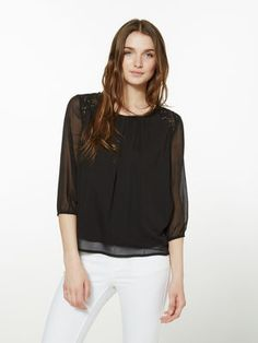 LOOSE FIT 3/4 SLEEVED BLOUSE, Black