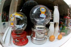 Old Gumball Machines by flowercat, via Flickr Gumball Machine, Vending Machine, Peanuts, Old And New, Stove, Snow Globes, The Past, Mini, Decor