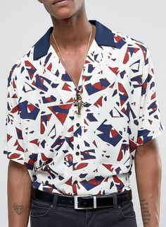 Reclaimed Vintage Inspired Shirt In Stone Abstract Print With Revere Collar In Reg Fit from ASOS #ad #men #fashion #shopping #outfit #inspiration #style #streetstyle