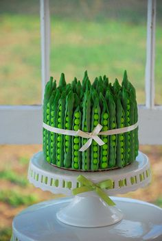 Peapod Cake (Decorated with Fondant and Sixlets).