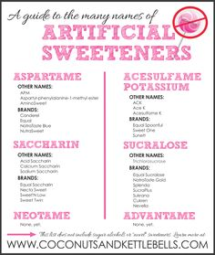 A guide to the many names of artificial sweeteners! Just say NO to being fake!