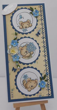 handmade greeting card: Tiger Stripes: Three Little Bears . Baby Scrapbook, Scrapbook Cards, Kids Cards, Baby Cards, Beautiful Handmade Cards, Animal Cards, Card Making Inspiration, Copics, Paper Cards