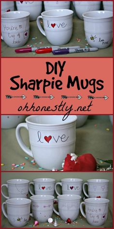 DIY Sharpie Mugs. An easy craft project for kids or adults! Makes great gifts for teachers, grandparents, and family members.