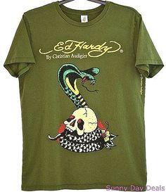 Ed Hardy Mens Shirt Cotton Skull Snake Flower Gothic Green Christian Audigier L  #EdHardy #GraphicTee