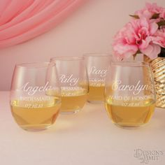Dozen (12) Stemless Personalized Wine Glasses with Wedding Party Designs and Font Selection OPTIONAL Monogrammed Glass Carafe with Stopper by DesignstheLimit #TrendingEtsy