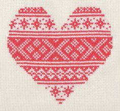 Pattern  Red Nordic Valentine Heart Cross Stitch by ScarletPyjamas, $5.00