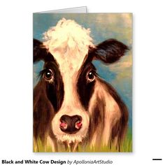 Black and White Cow Design Greeting Card