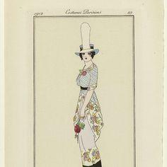 Journal des Dames et des Modes, 1912, Costumes Parisiens, no. 10: Robe de promenad (...), Umberto Brunelleschi, 1912 - Rijksmuseum 1914 Fashion, Soloing, Dame, Journal, Costumes, Canvas, Poster, Parisians, Tela