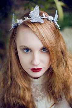 Silver Butterfly Crown, Butterfly Floral Garland, Butterfly Halo Crown – Beauxoxo- Handmade, Hair Accessories