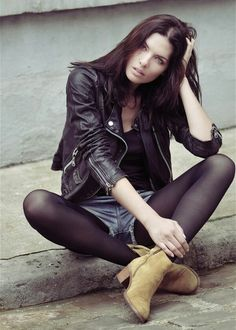 don't like the pose for the legs but i like the mood of the picture Beauty And Fashion, Runway Fashion, Fashion Models, Womens Fashion, Nylons, Short Leather Jacket, Nyc Girl, Model Agency, Fashion Pictures