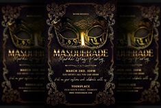 Flyer Design Templates, Print Templates, Flyer Template, Restaurant Flyer, Promotional Flyers, Mardi Gras Party, Masquerade Party, Party Flyer, Cool Designs
