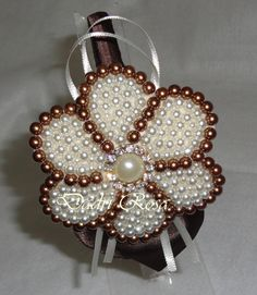 This Pin was discovered by Mar Fabric Ornaments, Beaded Ornaments, Pearl Headband, Pearl Hair, Beaded Necklace Patterns, Head Accessories, Beaded Brooch, Flower Making, Baby Headbands
