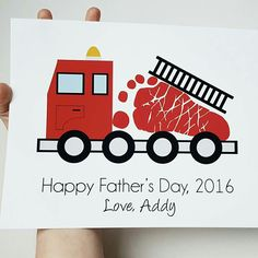 Father's Day Gift from baby, Firetruck footprint art by PitterPatterPrint via Instagram
