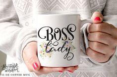 Coffee Mug, Ceramic mug, quote mug, Boss Lady Mug Lady boss, Printable Wisdom, unique coffee mug gift coffee, hand lettered calligraphy