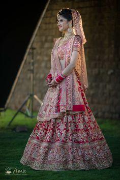 Photo of Light and dark red bridal lehenga Indian Bridal Photos, Indian Bridal Outfits, Indian Bridal Fashion, Indian Bridal Wear, Indian Dresses, Indian Wedding Lehenga, Bridal Lehenga Choli, Red Lehenga, Anarkali