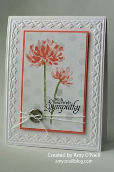 Stampin' Up! handmade card: Watercolor Sympathy ... mostly white with vermilion and pewter ... tulip embossing folder frame ... two step flowers ... bokuh look in background with gray double and triple stamped watercolor dots ... lovely card ...