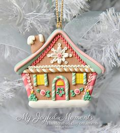 Handcrafted Polymer Clay Gingerbread House Ornament by Kay Miller on Etsy.