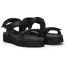 Nasty Gal To Hill With 'Em Cleated Sandal (665 ZAR) ❤ liked on Polyvore featuring shoes, sandals, black, black shoes, nasty gal shoes, velcro shoes, nasty gal and platform sandals